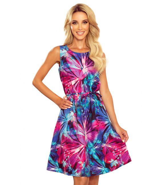 296-3 VICTORIA Trapezowa sukienka w niebiesko-różowe kwiaty