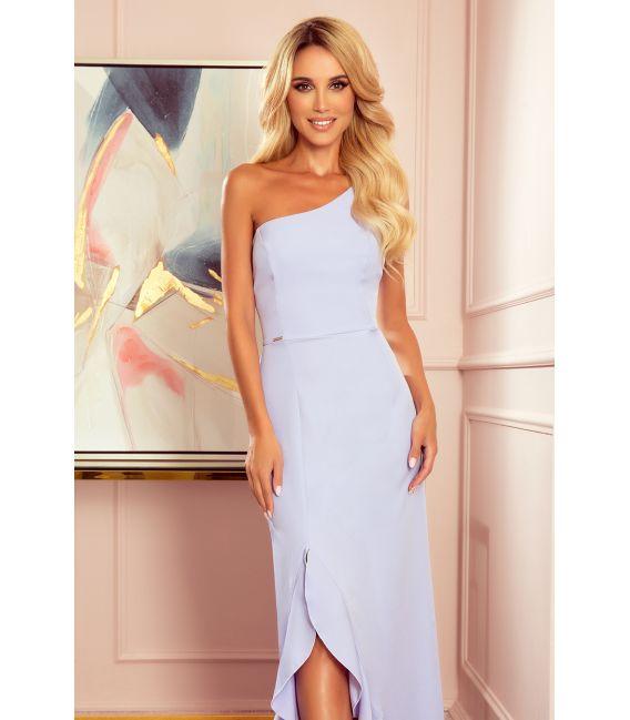 317-2 Długa suknia hiszpanka na jedno ramię - JASNY WRZOS