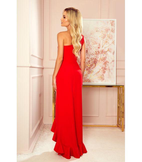 317-1 Długa suknia hiszpanka na jedno ramię - CZERWONA