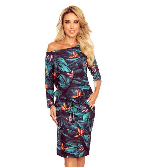13-119 Sukienka sportowa z kieszonkami - kolorowe MOTYLE