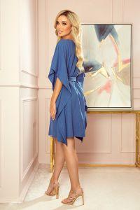 287-9 SOFIA Sukienka motyl - wzór - NIEBIESKI LEN