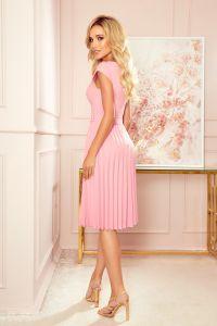 311-7 LILA Plisowana sukienka z krótkim rękawkiem - PUDROWY RÓŻ