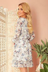 295-2 BAKARI zwiewna szyfonowa sukienka z dekoltem - KWIATY na jasnym tle
