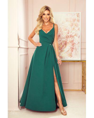 299-4 CHIARA elegancka maxi suknia na ramiączkach - ZIELEŃ BUTELKOWA