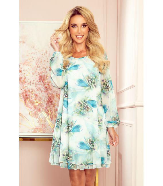 319-1 HANNAH szyfonowa sukienka z dekoltem na plecach - niebieskie WAŻKI