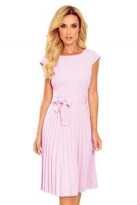 311-6 LILA Plisowana sukienka z krótkim rękawkiem - WRZOS