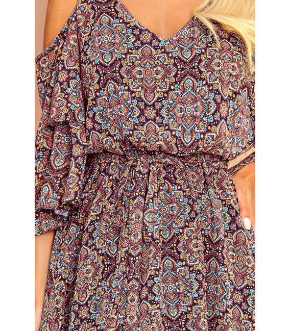 292-3 MARINA zwiewna sukienka z dekoltem - WZÓR MAROKAŃSKI