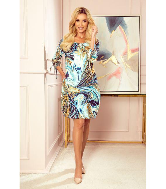 281-3 SOPHIE Wygodna sukienka Oversize - NIEBIESKO-ZŁOTE FALE