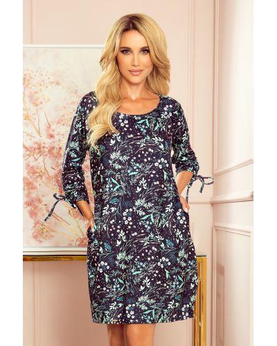 281-4 SOPHIE Wygodna sukienka Oversize - Miętowe liście na ciemnym tle