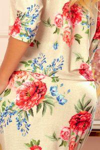 13-121 Sukienka sportowa z kieszonkami - BEŻOWY LEN + CZERWONE KWIATY