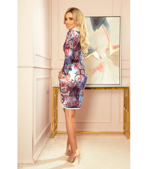282-3 IRENE Sukienka z golfem - niebieski orientalny wzór