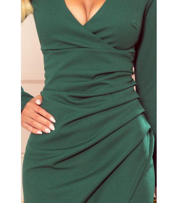 290-2 Asymetryczna sukienka z dekoltem i drapowaniem - ZIELEŃ BUTELKOWA