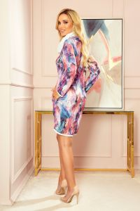 282-2 IRENE Sukienka z golfem - RÓŻOWY MARMUR