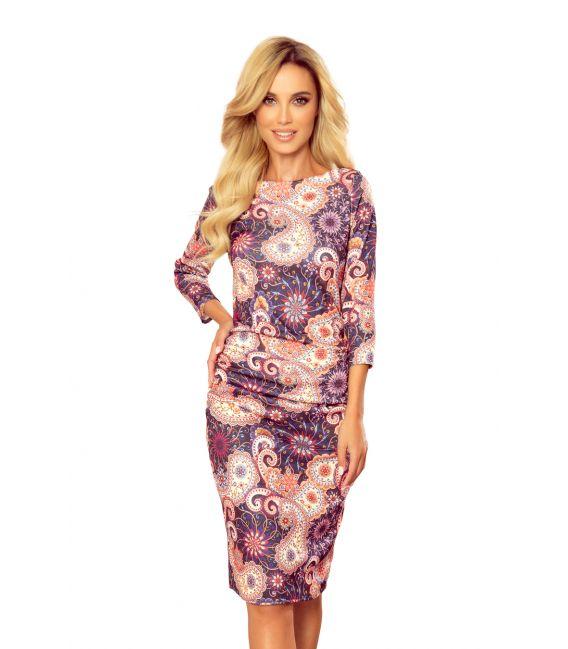 59-10 Sweterkowa sukienka - ORIENTALNY KOLOROWY WZÓR