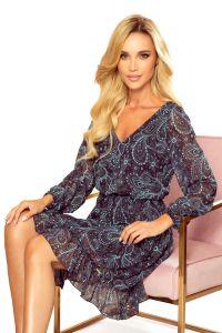 295-3 BAKARI zwiewna szyfonowa sukienka z dekoltem - TURKUSOWY WZÓR
