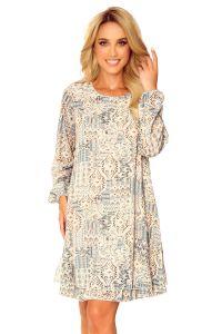 319-2 HANNAH szyfonowa sukienka z dekoltem na plecach - beżowo-niebieski wzór BOHO