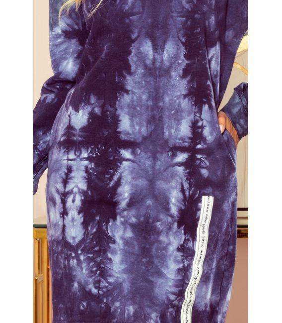 322-1 Bluza z kapturem i kieszeniami - NIEBIESKI marmur