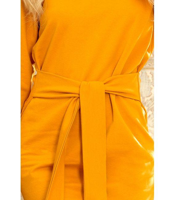 209-8 Sukienka z szerokim wiązanym PASKIEM - MUSZTARDA