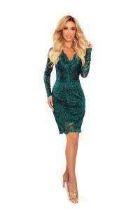 170-9 Sukienka koronkowa z długim rękawkiem i DEKOLTEM - ZIELEŃ BUTELKOWA
