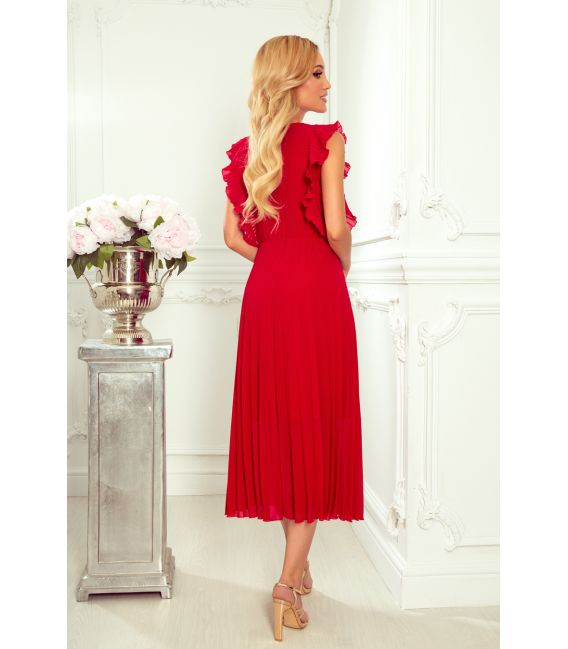 315-3 EMILY Plisowana sukienka z falbankami i dekoltem - CZERWONA