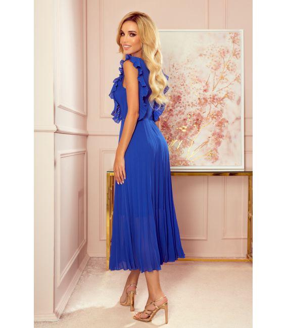 315-2 EMILY Plisowana sukienka z falbankami i dekoltem - CHABROWA