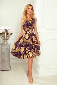 114-13 Rozkloszowana sukienka - dekolt w kształcie serca - ZŁOTE LIŚCIE