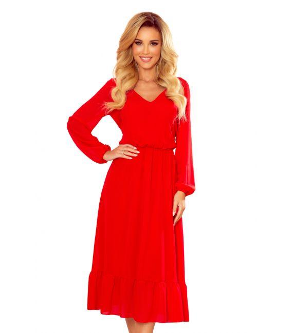 304-3 Szyfonowa sukienka midi z dekoltem i falbanką - CZERWONA