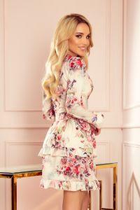 297-2 CAROLINE sukienka z falbanami i kopertowym dekoltem - KWIATY NA JASNYM TLE