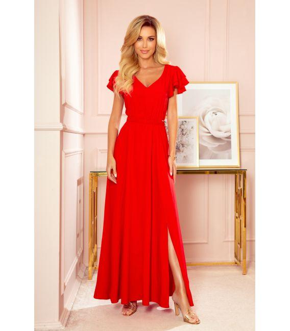 310-2 LIDIA długa sukienka z dekoltem i falbankami - CZERWONA