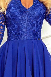 210-12 NICOLLE - sukienka z dłuższym tyłem z koronkowym dekoltem - NIEBIESKA