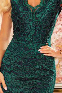 316-3 Koronkowa sukienka z krótkim rękawkiem i dekoltem - ZIELONA