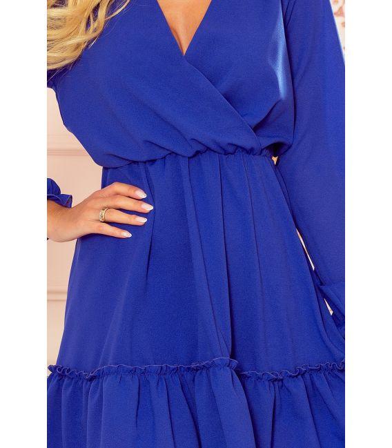 329-1 LAUREN Szyfonowa sukienka z dekoltem i falbankami - CHABROWA
