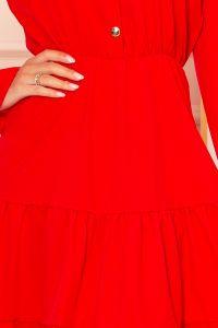 332-2 Sukienka z falbankami i złotymi guzikami - CZERWONA