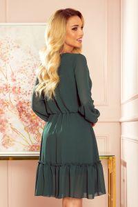 329-3 LAUREN Szyfonowa sukienka z dekoltem i falbankami - ZIELEŃ BUTELKOWA