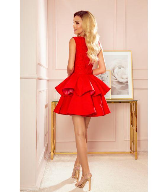 321-1 Ekskluzywna sukienka z koronkowym dekoltem - CZERWONA