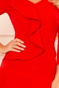 327-2 Elegancka sukienka z falbanką i dekoltem - CZERWONA
