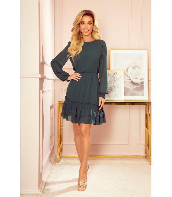 336-2 Szyfonowa sukienka z marszczonymi gumkami - ZIELEŃ BUTELKOWA