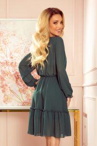 335-1 TRACY Szyfonowa sukienka z guzikami - ZIELEŃ BUTELKOWA