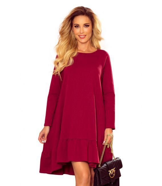 337-2 Trapezowa sukienka z falbanką - BORDOWA