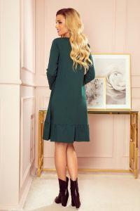 337-1 Trapezowa sukienka z falbanką - ZIELEŃ BUTELKOWA