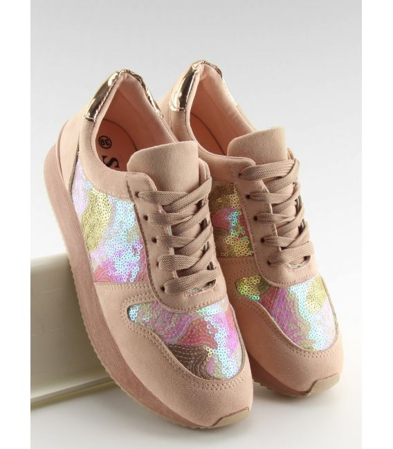 Buty sportowe z cekinami różowe LH10P PINK