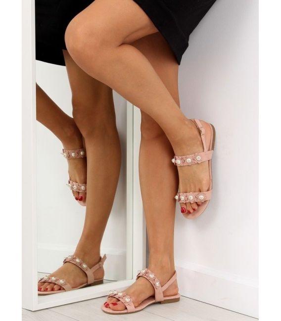 Sandałki damskie z perełkami różowe 55-66 PINK