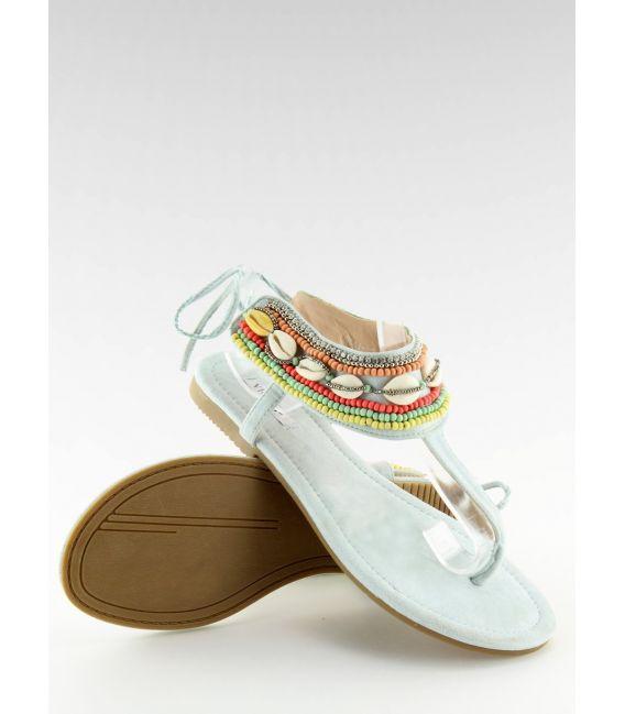 Sandałki z koralikami niebieskie 8241 L.BLUE