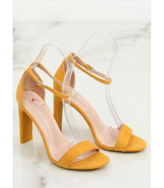 Sandałki na obcasie żółte NF-37P YELLOW