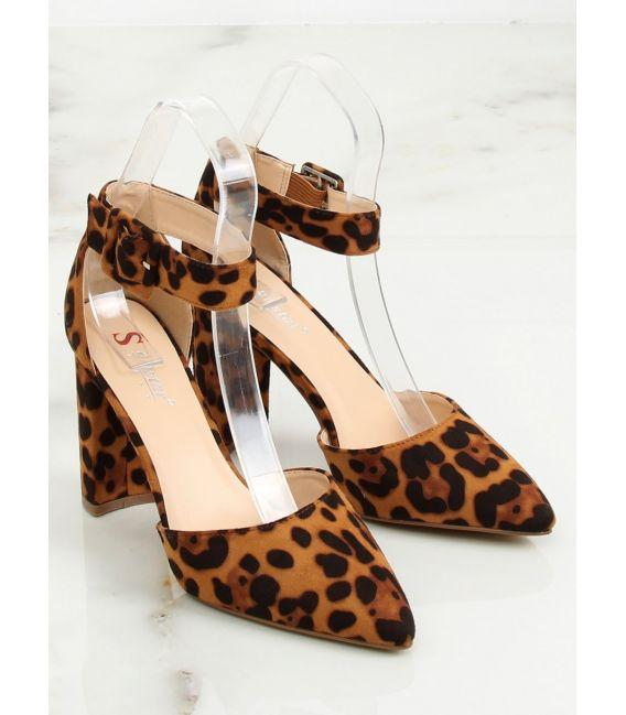 Czółenka na słupku leopard SY33P LEOPARD