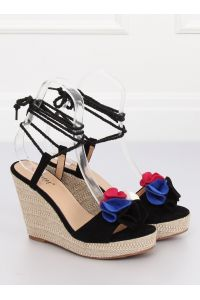 Sandałki na koturnie czarne YY27P BLACK