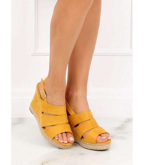 Sandałki na koturnie żółte 9069 YELLOW