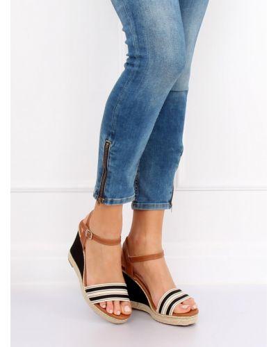 Sandałki na koturnie czarne 9068 BLACK
