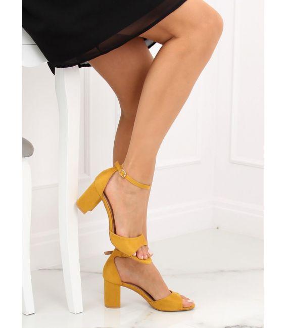 Sandałki na obcasie żółte VV-24 YELLOW