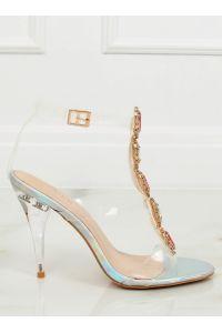 Sandałki na szpilce srebrne KSL701 SILVER